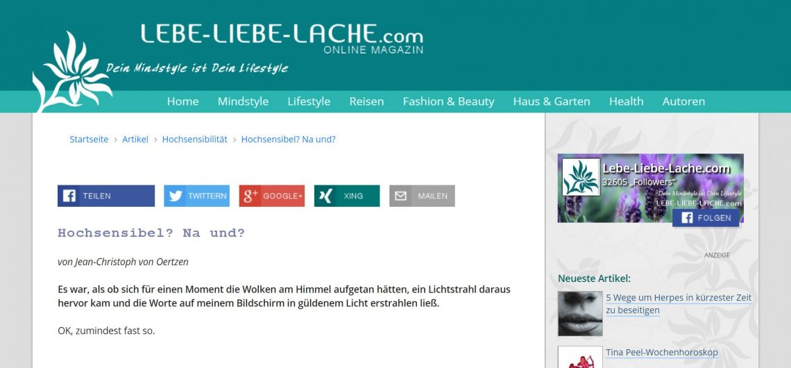 Gastbeitrag lebeliebelache.com hochsensibel na und