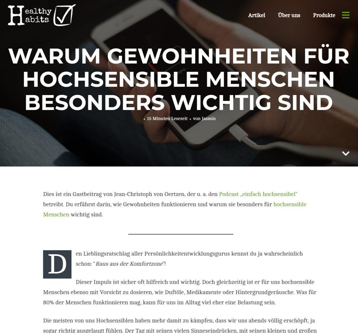Gastbeitrag Gewohnheiten und Hochsensibilität auf healthyhabits.de