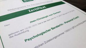 Zertifikat psychologischer Berater personal Coach für hochsensible Menschen BTB
